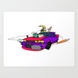 Drifting 4-door JDM VIP Barge. Art Print