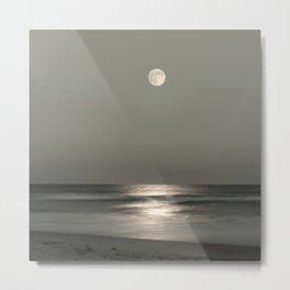 Moon Rise Over the Atlantic Metal Print