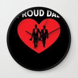 Proud dad Heart pride Gay Couple Wedding Wall Clock