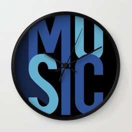 Music (text) Wall Clock