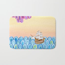 scalloped sunset sea Bath Mat