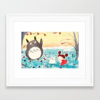 studio ghibli Framed Art Prints featuring Fan-art Studio Ghibli  by Maureen Poignonec