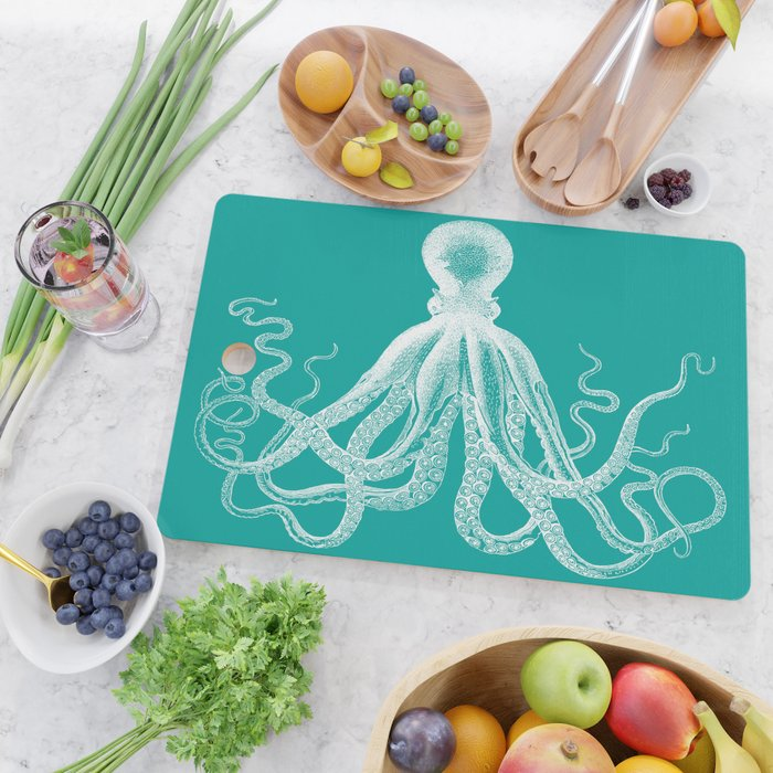 Octopus | Vintage Octopus | Tentacles | Teal Green and White | Cutting Board