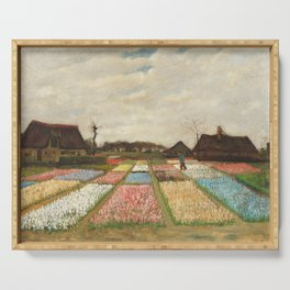 Flower Beds in Holland by Vincent van Gogh, 1883 Serving Tray
