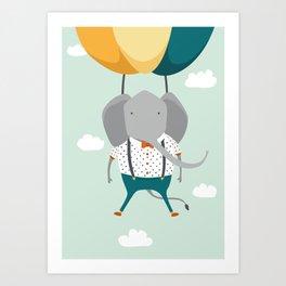 Elephant in flight Art Print