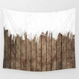 White Abstract Paint on Brown Rustic Striped Wood Wall Tapestry