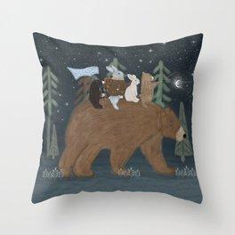 the moon bear Throw Pillow