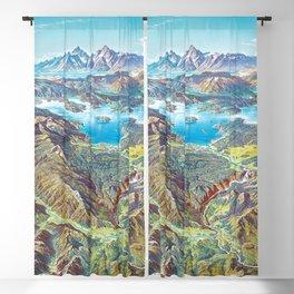 Yellowstone Park and Lake Panorama;  Wyoming, Montana & Idaho landscape painting by Heinrich Berann  Blackout Curtain