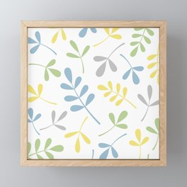 Assorted Leaf Silhouettes Blue Green Grey Yellow White Framed Mini Art Print