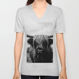 Scottish Highland Cattle Black and White Animal Unisex V-Neck