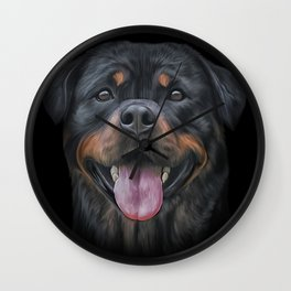 Drawing dog rottweiler Wall Clock