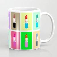 lipstick Mugs featuring Lipstick by Scout Garbaczewski
