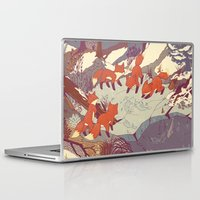 tour de france Laptop & iPad Skins featuring Fisher Fox by Teagan White