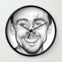 tom hiddleston Wall Clocks featuring Tom Hiddleston by Angie Siketa