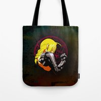 fullmetal alchemist Tote Bags featuring YELLOW HAIR ALCHEMIST by BradixArt