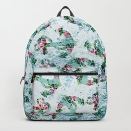 Vintage style floral nautical anchor teal glitter Backpack