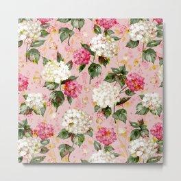 Vintage green pink white bohemian hortensia flowers Metal Print