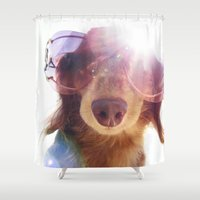 hollywood Shower Curtains featuring Hollywood Phats by Canis Picta