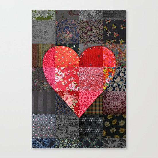 Patched Heart Canvas Print
