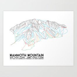 Mammoth Mountain, CA - Minimalist Trail Map Art Print