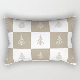 Rustic Beige Christmas Tree Woodland Pattern Rectangular Pillow