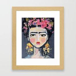 Portrait Inspired by Frida Gerahmter Kunstdruck