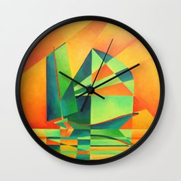Chinese Junk Sails at Sunrise Wall Clock