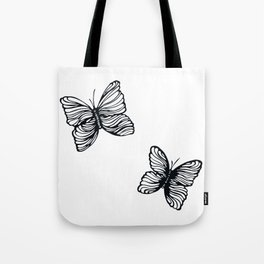 black and white butterfly drawing Tote Bag