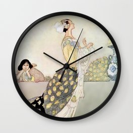 """""""Nightingale and Rose"""" Fairy Art by Charles Robinson Wall Clock"""