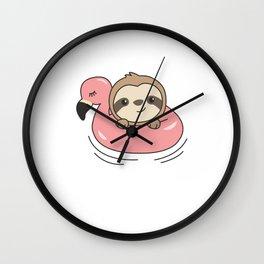 Sloth Flamingo Swimming Hoop Summer Cute Animals Wall Clock