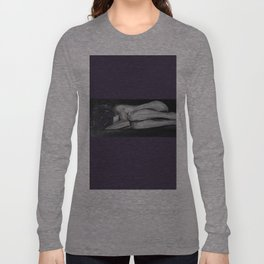 Tasteful Nude Oil paint on canvas painting, fetal position, black and white, purple, woman Long Sleeve T-shirt