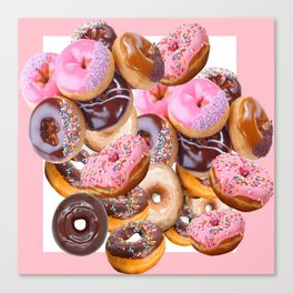 MODERN ART PINK & CHOCOLATE DONUT PASTRY MONTAGE Canvas Print