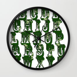 Green CanalFlowers Alphabet Wall Clock