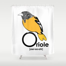 O is for Oriole Shower Curtain