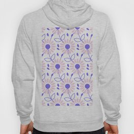 Pastel pink violet hand painted daisies floral pattern Hoody
