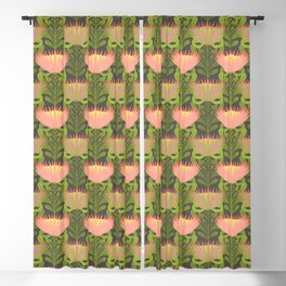 King Protea Flower Pattern - Gray Blackout Curtain