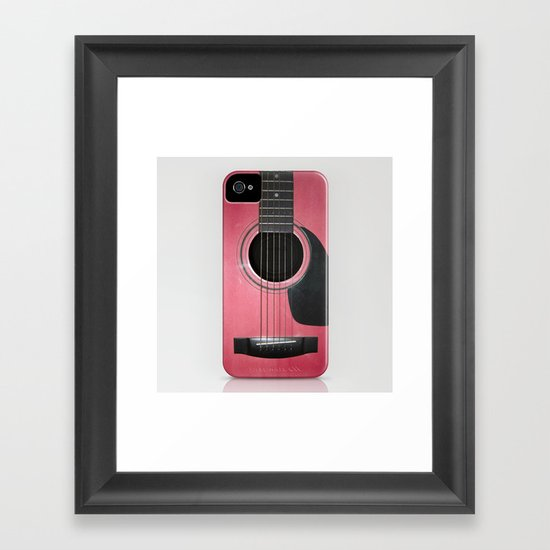 Pink Guitar Framed Art Print