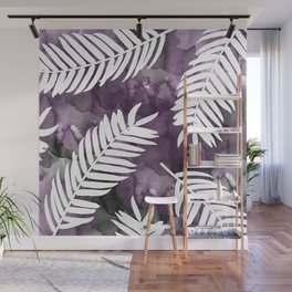 White Palm Leaves  |  Black And Purple Wash Background Wall Mural