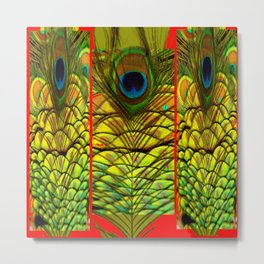 ART DECO RED GOLDEN-GREEN PEACOCK  PATTERN Metal Print