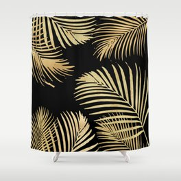 Gold Palm Leaves on Black Shower Curtain
