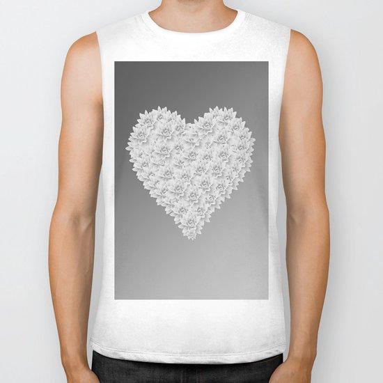 White heart Biker Tank