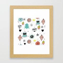 Cute Colorful Christmas Ornament Pattern Framed Art Print