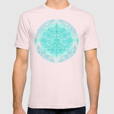 Happy Place Doodle in Mint Green & Aqua Light Pink Mens Fitted Tee X-LARGE