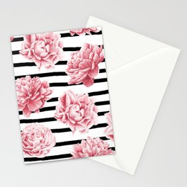 Simply Drawn Stripes and Roses Stationery Cards