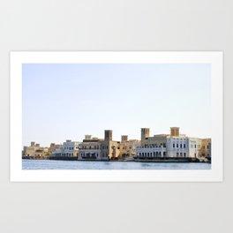 Waterfront historic district in Deira, Dubai Art Print