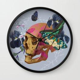 Gold Skull Butterfly Flower Wall Clock