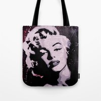 marylin monroe Tote Bags featuring MARYLIN by f_e_l_i_x_x