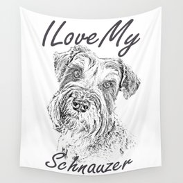I Love My Schnauzer Wall Tapestry