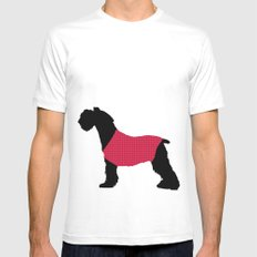 German Schnauzer Dog Print on Pink White Mens Fitted Tee MEDIUM