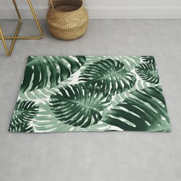 Tropical Monstera Jungle Leaves Pattern #1 #tropical #decor #art #society6 Rug